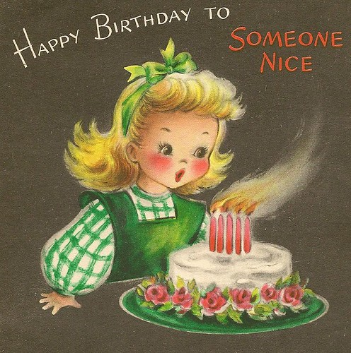 Images Of Vintage Girls First Birthday Card: Vintage Cdn Birthday Card To