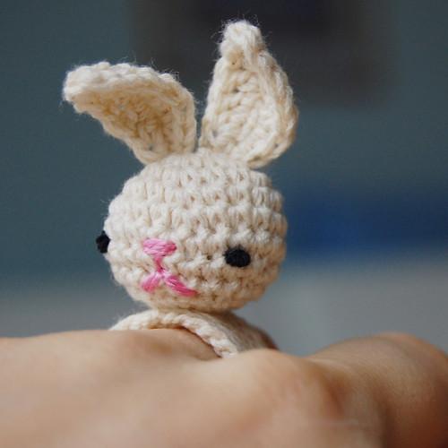 Crochet Amigurumi Ring : Amigurumi Crochet Bunny Bea Ring I finished today ...