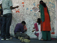 Jon Burgerman - Aol. Mural Bangalore COLOURING!!! | by Début Art