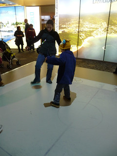 playing hockey on the interactive floor at Russky Dom | by eebeejay