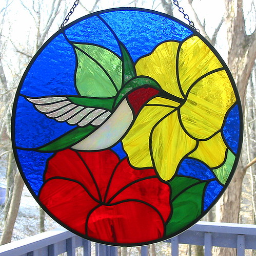 Stained Glass Ruby-throated Hummingbird Suncatcher