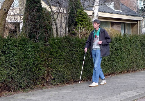 A Blind Man A Blind Man Walking In Palenstein Near The