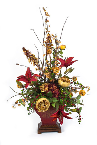 666120 2 Silk Flowers Artificial Christmas Trees