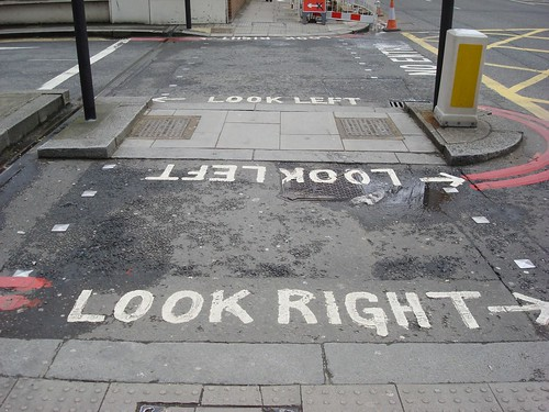 Every crosswalk in London reminds you to Look Right or Look Left | by green.t.russell
