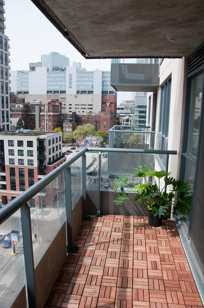 balcony after west added ikea platta wooden deck tiles. Black Bedroom Furniture Sets. Home Design Ideas