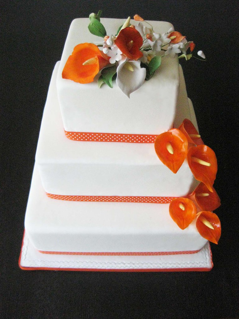 orange and white wedding cakes orange and white calla lilly wedding cake www 18042
