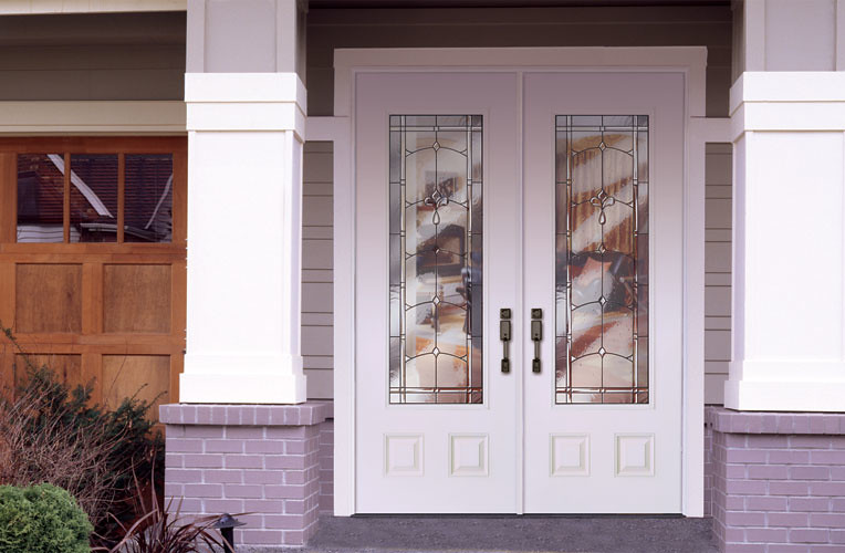 Feather river door fiberglass entry doors smooth white d for White front door with glass