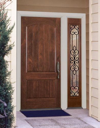 Feather river door fiberglass entry doors 2 panel mahoga - Single main door designs for home in india ...
