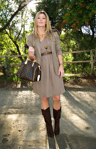 paul and joe dress+louis vuitton speedy+brown suede boots+gold accessories+70's modern+vintage perfume bottle necklace | by ...love Maegan