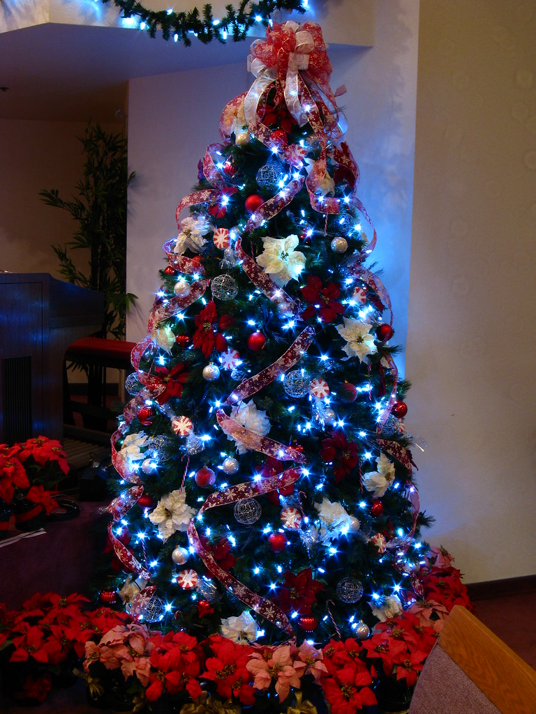 candy cane christmas tree with white led lights by mastery of maps - Christmas Tree With Blue Lights
