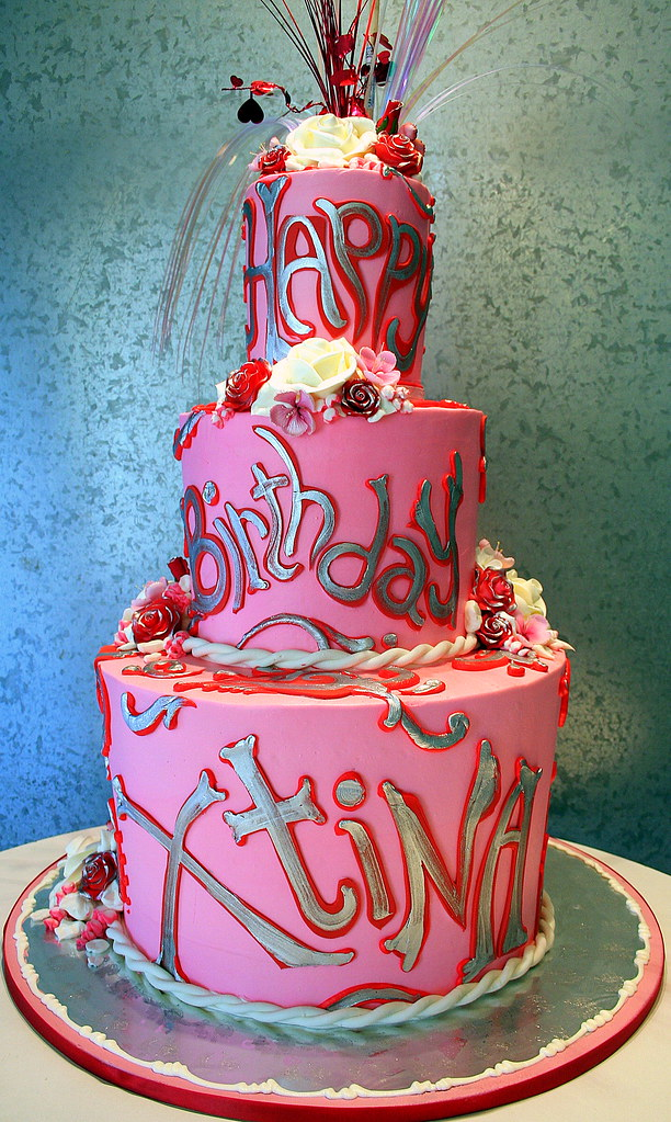 Pink Red Silver Amp White Tiered Birthday Cake For Pop