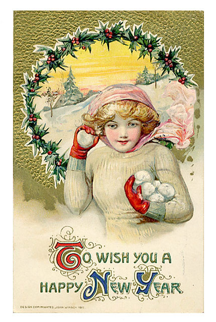 Vintage New Year Postcard   Free to use in your Art only ... Vintage New Years Images