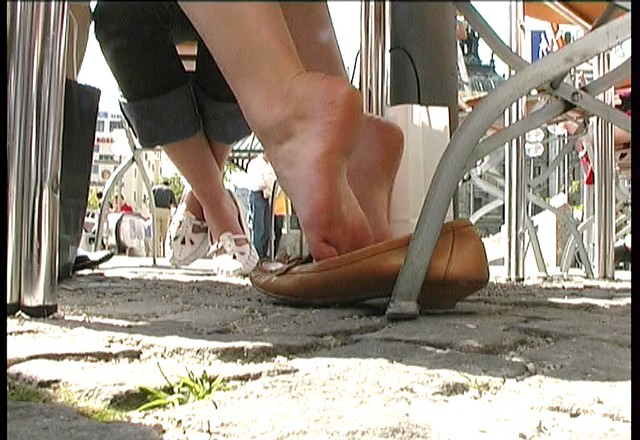 Candid feet shoeplay dangling in nylons pantyhose lobby - 2 part 3