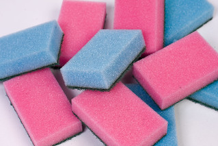 Plain blue and pink polyurethane kitchen sponges | by Horia Varlan
