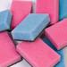 Plain blue and pink polyurethane kitchen sponges