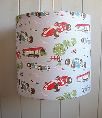 Racing car drum lampshade handmade in the uk by the old la flickr racing car drum lampshade by photos from the old lamp shed aloadofball Choice Image
