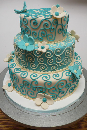 wedding cakes with teal flowers teal amp ivory wedding cake this color combo it s so 26128