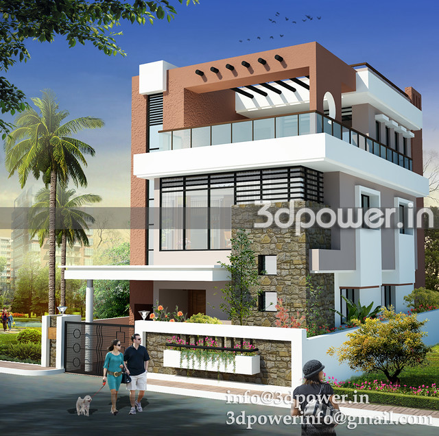 Bungalow 3d Rendering Contemporary Bungalow Rendering: Bungalow_www.3dpower.in_architectural Rendering_india