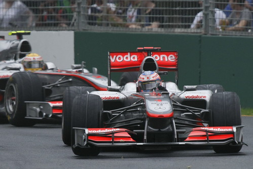 Hamilton chases down Button in the early stages of the Melbourne race | by f1photos.org