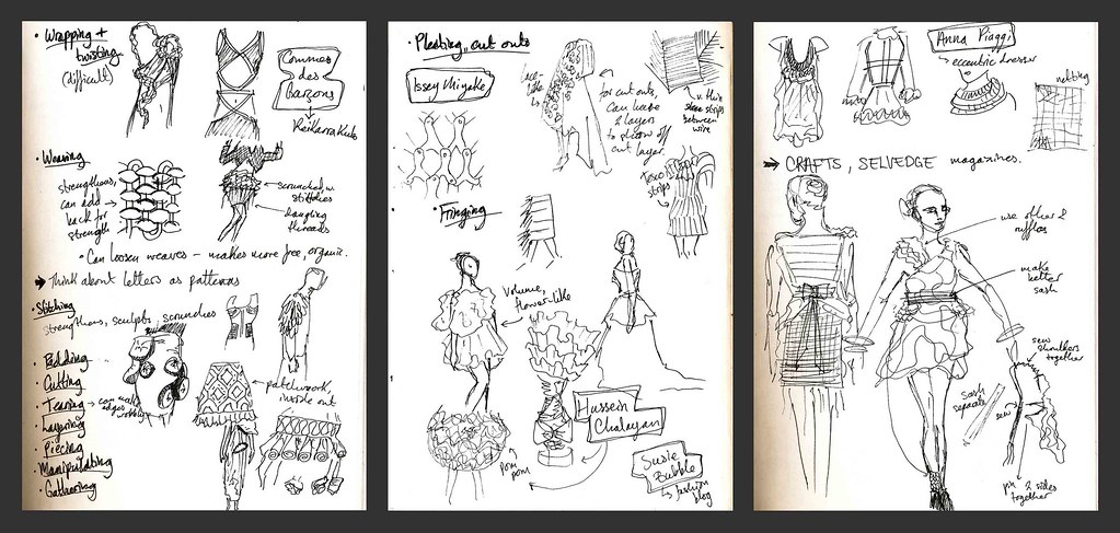 Sketchbook pages with ideas and research for fashion brief ...