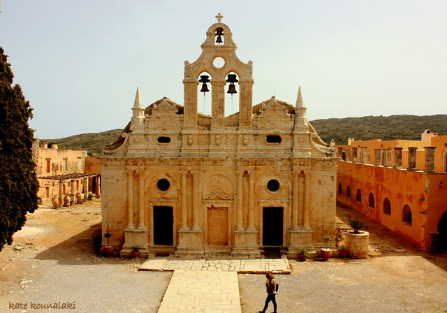 Venetian baroque church at Moni Arkadiou  The monastery ...