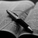 Open Bible with pen - B&W