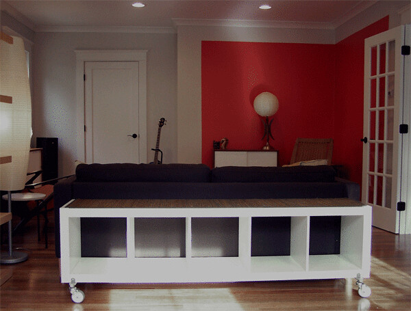 IKEA Expedite shelves behind sofa--Just getting started | Flickr ...