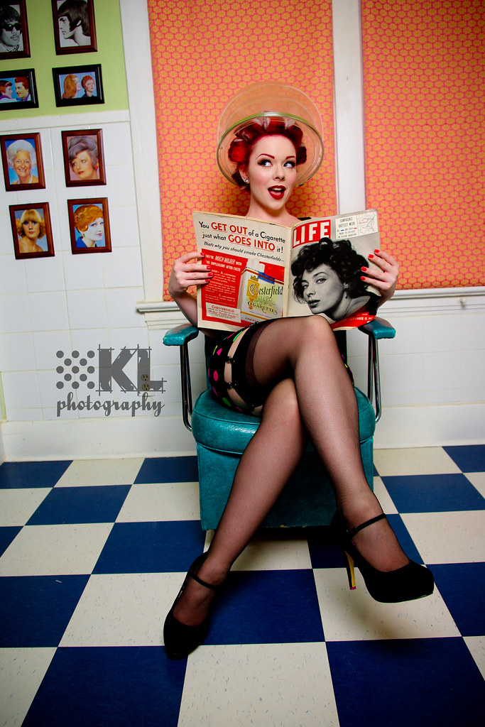 Model lucky l 39 amour retro lingerie provided by cameo int for 1950 s beauty salon