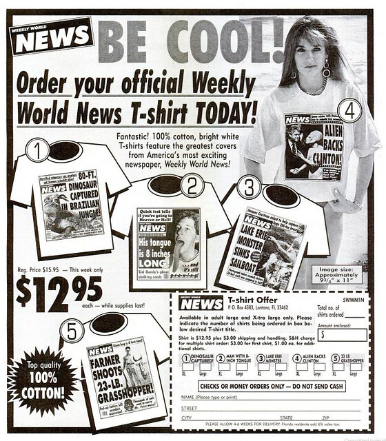 weekly world news t shirts year unknown look in the tunk flickr