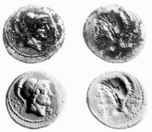 389-1 L.Rusti Plated Brockage, coin above and plaster cast below illustrated, ref. Clive Stannard 1998 | by Ahala