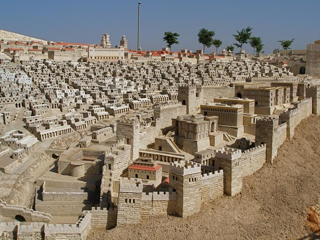 Model Of Ancient Jerusalem Looking From The Lower City