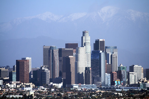 Downtown La 1 Downtown Los Angeles With Mt Baldy In The