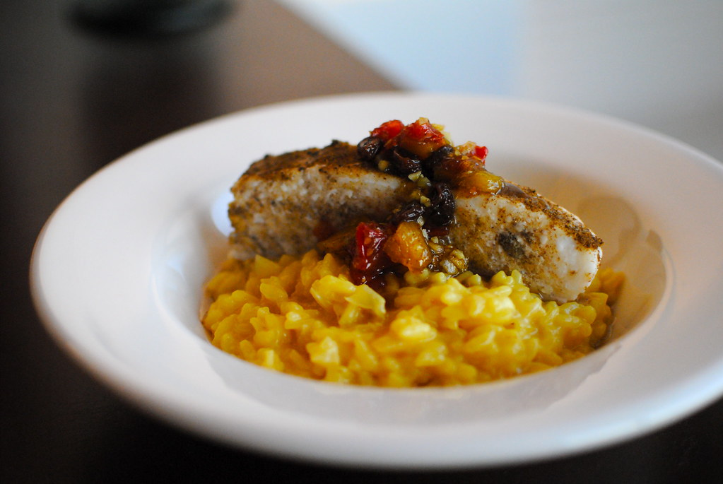 Saffron risotto, halibut, sweet mango+ginger chutney | Flickr
