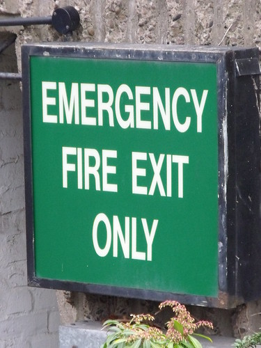 Crowne Plaza - Hotel from Suffolk Street Queensway - signs - Emergency Fire Exit Only | by ell brown
