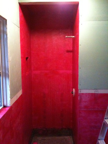 Redgard hot pink bathroom renovation posted from for Hot pink bathroom ideas