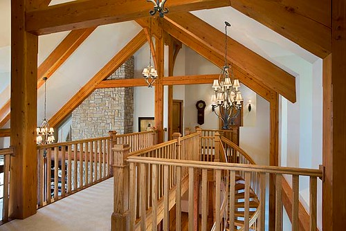 The tuscany iii timber frame home bridge loft a timber for Timber frame bridge