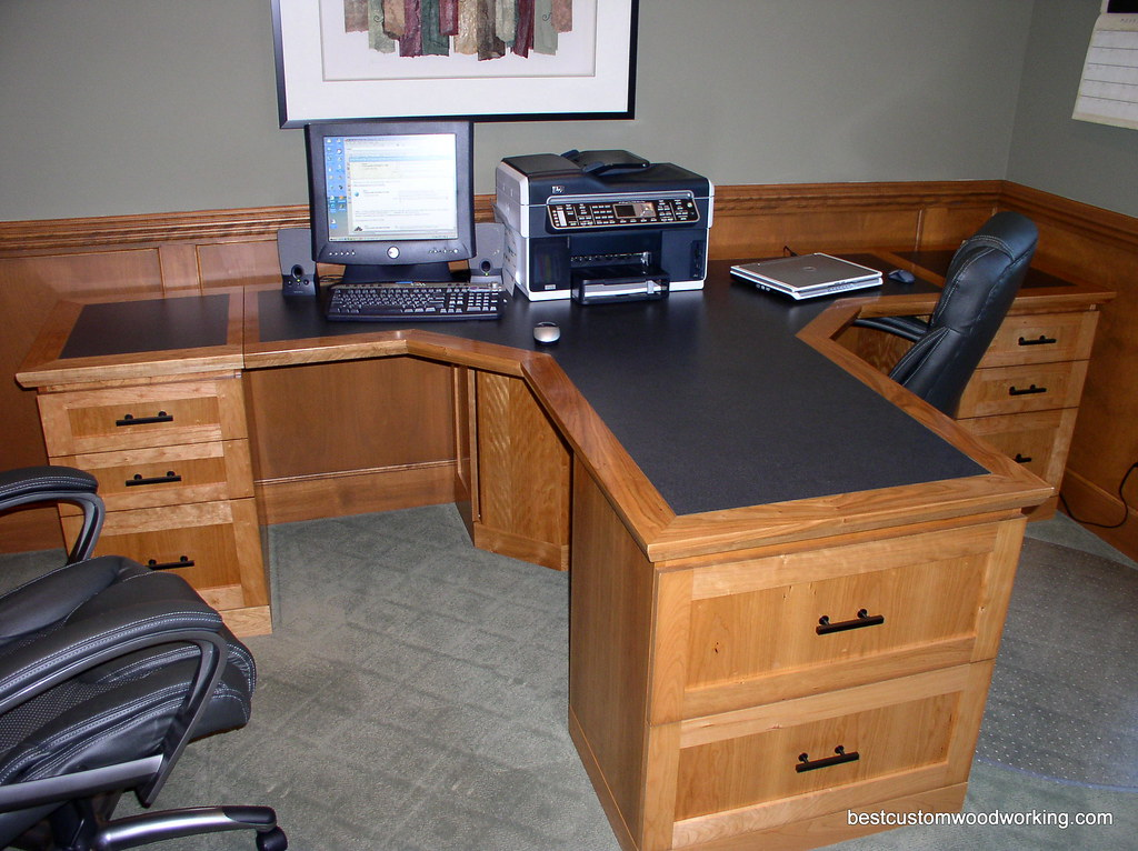 Custom Cherry Partner Desk (Two Person).