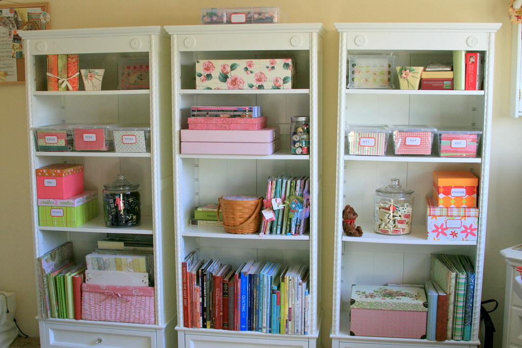 Craft Room Open Shelves After Photo After A Clear Out