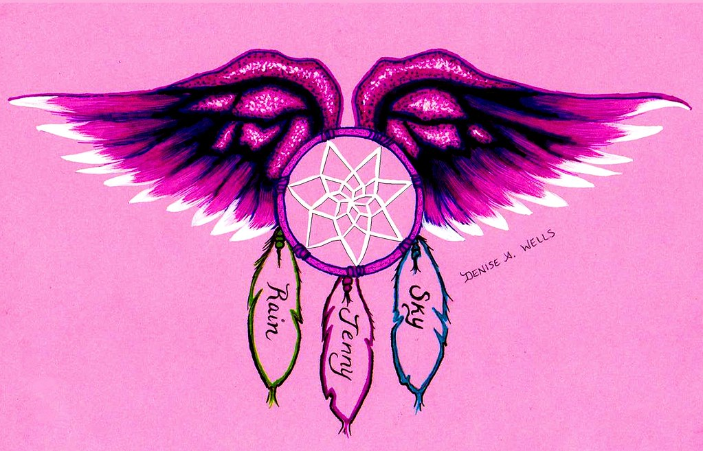 family tattoo design by denise a wells winged dream a m flickr. Black Bedroom Furniture Sets. Home Design Ideas