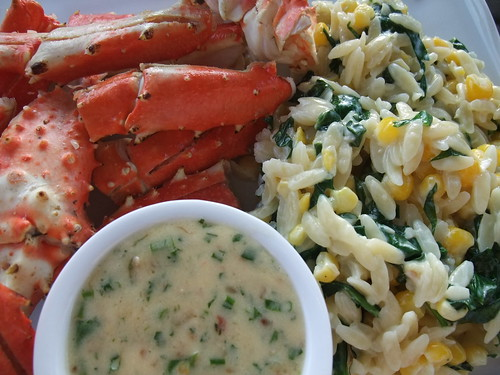 Crab with a Beurre Blanc and Corn-Spinach Orzotto | by swampkitty