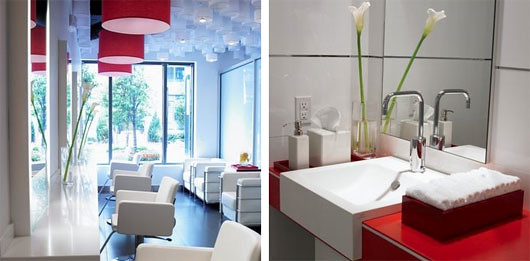 Red white beauty salon interior design red white beauty for Photos salon design