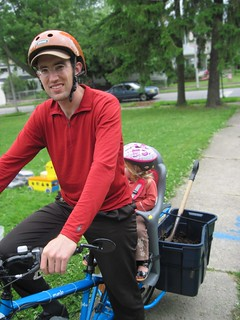 baby + tub o' compost on an electric cargo bike | by Mark Stosberg