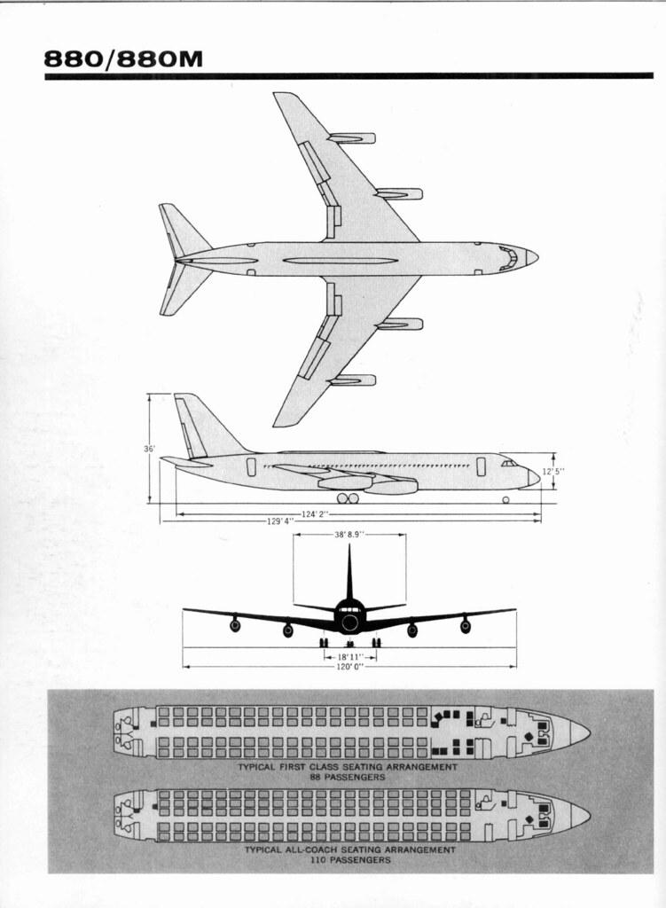 Convair 880-880M seating and dimensions | David Rider | Flickr