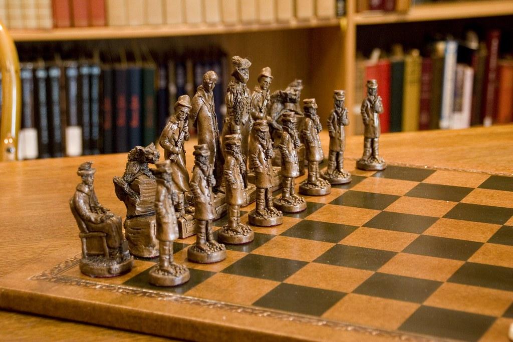 sherlock holmes chess set black pieces detail of an
