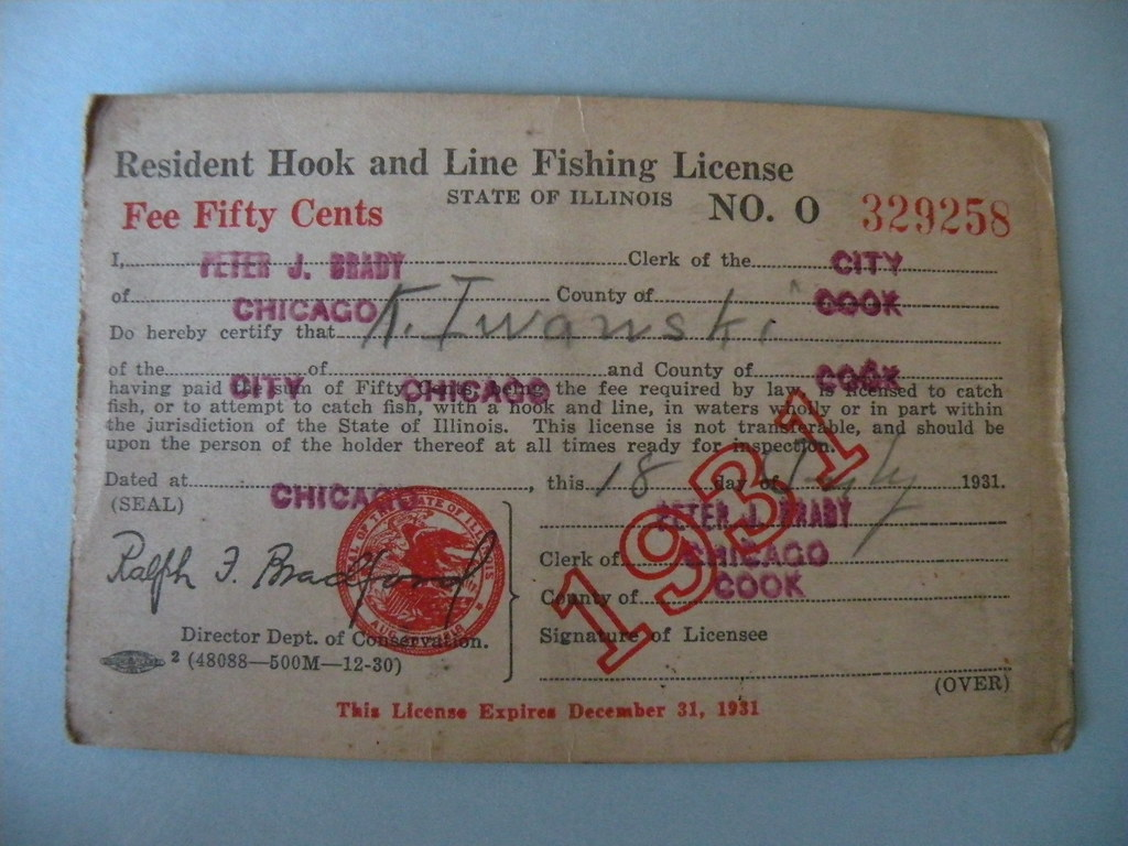 Kostanty gust iwanski 39 s 1931 illinois fishing license for Kansas lifetime fishing license