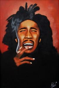 Bob Marley Smoking Joint Weed Blunt Spliff Art Oil Paintin