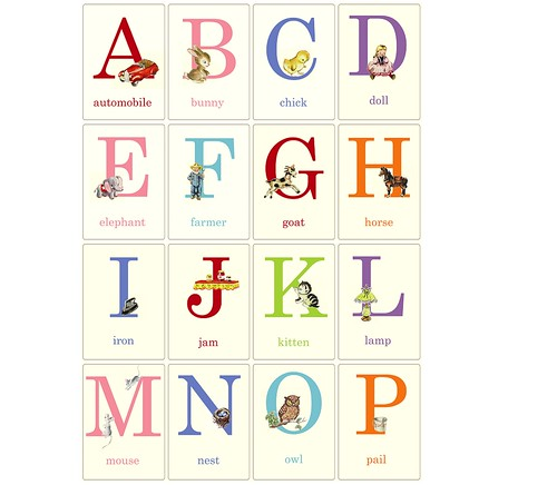 Baby ABC flashcards | Vintage style flashcards made from