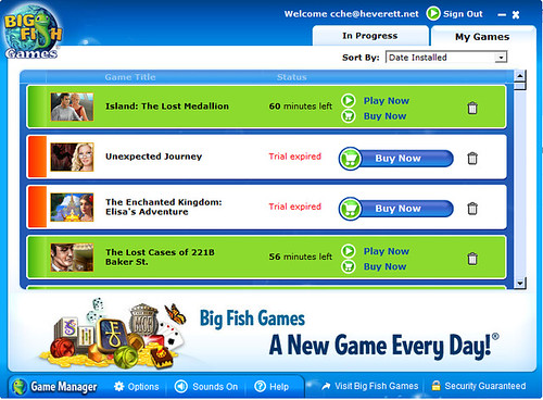 Big fish game manager install