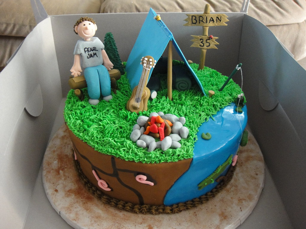 Camping Themed Party Cake