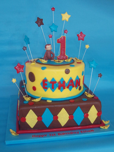 Curious George 1st Birthday Cake An All Fondant Finish